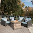 Andrew Outdoor 5 Piece Gray Wicker Chat Set with Stone Finished Fire Pit