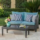 Charles Outdoor Wicker Loveseat and Table Combo with Water Resistant Cushions