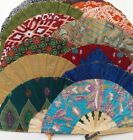 Large Hand held folding hand fan - 26cm Bamboo and Rayon - Various Colours