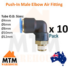 10 x Push in Air Fitting Male Elbow 4mm to 12mm Outer Diameter Pneumatic Pack