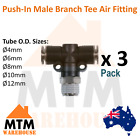 3 x Push in Air Fitting Hose Male Branch Tee 4mm to 12mm Outer Diameter Pack 3Pc