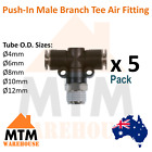 5 x Push in Air Fitting Hose Male Branch Tee 4mm to 12mm Outer Diameter Pack 5Pc