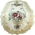 Table Runner, Doily, Mantel Scarf with Burgundy Red Roses on Ivory Material