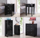 Black Mirrored Furniture Bedside Table Cabinet Tallboy Chest of Drawers