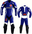 Blue Suzuki GSXR Motorcycle Leather Suit Sports Motorbike Cowhide Leather Suit