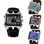 Men Needle buckle Digital Rectangle Leather casual Quartz Waterproof Wrist Watch