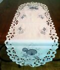 Table Runner, Doily, Mantel Scarf with Blue Seashells on Bleached White Fabric