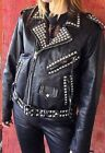Women Black Punk Style Silver Studded Leather Jacket Ladies Real Soft Jacket