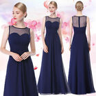UK Long Prom Navy Bule Sleeveless Bridemaids Evening Formal Maxi Dress 08761