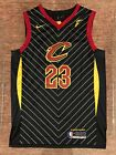 Cleveland Cavaliers 23 LeBron James Mens Striped Black Sewn Jersey New