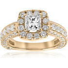 2 1/2ct Princess Cut Diamond Engagement Ring Cushion Halo Yellow Gold Enhanced