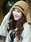 Women Winter Beret Braided Baggy Beanie Crochet Hat Cap Beige KhaKi