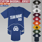 Custom Baseball Jerseys  Full Button Jersey  Softball Uniform  S to 4XL