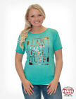 Cowgirl Tuff Ladies Turquoise Gold Foil Graphic Tee S00996  SALE!! MSRP $39.99