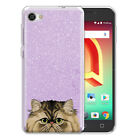 "For Alcatel A50 Pulsemix Crave 5085 5.2"" Cat Purple Glitter Clear TPU Cover Case"