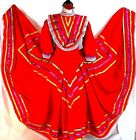Authentic red Mexico Jalisco folkloric dance dress 5 de Mayo rodeo adult NWOT