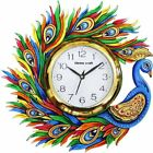 Wooden Wall Clock Peacock Emboss  Painting Antique Multi Color Clocks