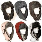 Mens Ladies Trapper Aviator Plain Russian Ushanka Winter Hat with Ear Flap New