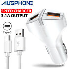 Genuine SPEED 3.1A Car Charger Type-C Cord Cable For Samsung S9 PLUS S8 Note 8