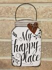 White Metal Hanging Jar Shaped Sign With Rust Metal Heart