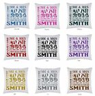 PERSONALISED PRINTED LARGE CUSHION COVER MR & MRS WEDDING DAY GIFT FREE P&P
