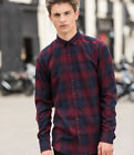 SF - Men Brushed Check Casual Shirt - Skinny Fit - Super Soft Fabric