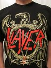SLAYER RED METAL BAND LOGO WITH GOLD EAGLE BLACK T SHIRT image