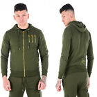 Mens ENTT King Tracksuit Top Hoody Jumper Sweatshirt Gym Khaki Green Hoodie