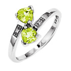 925 Rhodium Flashed Silver Peridot & Diamond Double Trianglering - 0.909cttw