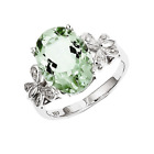 925 Sterling Silver Green Quartz and Diamond Oval Cut Butterfly Ring - 3.924cttw
