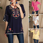 Summer Vintage 1970s Mexican Ethnic Floral Embroidered Style Womens Blouse Tops
