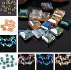 10pcs 14mm Faceted Glass Crystal Diagonal Square Findings Loose Spacer Beads
