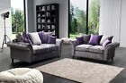Marilyn Velvet Sofa Set 3+2+1 Couch Settee Silver Grey Violet Scatter Back Sale