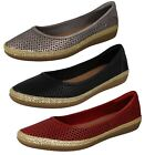 Ladies Clarks Leather Summer Ballerina Flat Shoes - 'Danelly Adira'