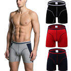 Mens Modal Boxer Briefs Shorts Long Leg Sports Underwear Silky Soft M-3XL