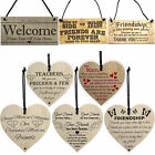 Hanging Wooden Wall Plaques Shabby Chic Family Friendship Heart Rules Door Signs