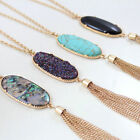 Women's Fashion Big Oval Abalone Druzy Chain Stone Tassel Pendent Necklace Long
