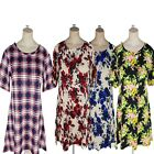 Women's Ladies Short Sleeves Check & Floral Printed Top Dress Plus Size UK 16-26