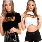 "New Ladies Short Sleeves Gold Foil ""VOGUE"" Print Tie Crop T-Shirts Top UK 8-14"