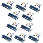 Lot 6pins PCI-E Express USB3.0 1x to 16x Extender Riser Adapter SATA Power Cable