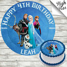 FROZEN CHARACTERS EDIBLE ROUND BIRTHDAY CAKE TOPPER DECORATION PERSONALISED