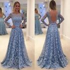 Women Lace Long Sleeved High Waist Sexy Backless Prom Cocktail Party Dress US