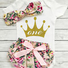 1st Birthday Newborn Baby Girls Romper Outfits Bodysuit+Shor