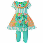 AnnLoren Springtime Floral and Damask Panel Dress Outfit sz 12/18 mo-13/14yrs