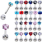 16G Stainless Steel CZ Barbell Heart Tragus Cartilage Helix Ear Stud Earrings