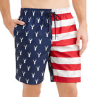 George Big Mens Camo Deer Head Americana Swim Trunk Shorts Flag Merica Patriotic