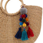 bag purse bohemian Tassles hipster festival colorful beads keychain pompom charm