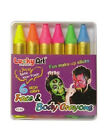 6 Neon Colour Face and Body Crayons Paint Sticks Set Kit Halloween Party Bright