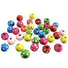 NEW IN 8MM 10MM RAINBOW/DOT COLOURS ROUND WOODEN BEADS FOR JEWELLERY MAKINMG
