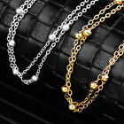 2 Pcs Woman Stainless Steel Bracelet Chain Bead Anklets Smooth Gold/Silver